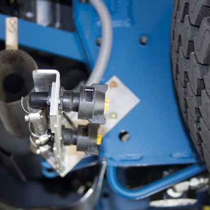 All wheels have spray nozzles to remove paint